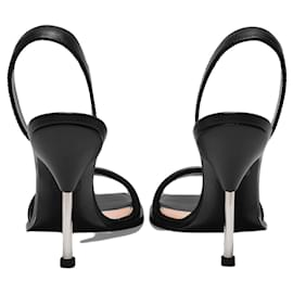 Alexander Mcqueen-Sandals in Black and Silver Leather-Black