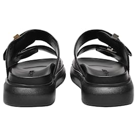 Alexander Mcqueen-Hybrid Slides in Black and Silver Leather-Black