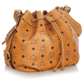 MCM-MCM Brown Visetos Leather Drawstring Bucket Bag-Brown