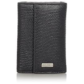 Dolce & Gabbana-Dolce&Gabbana Black Leather Key Holder-Black