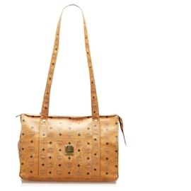 MCM-MCM Brown Visetos Leather Shoulder Bag-Brown