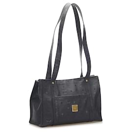 MCM-MCM Black Visetos Nylon Shoulder Bag-Black