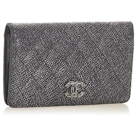 Chanel-Chanel Silver Matelasse CC Metallic Leather Wallet-Silvery