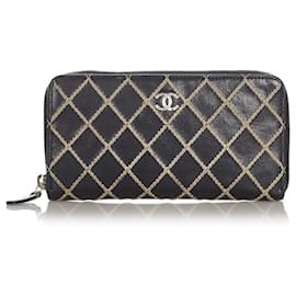 Chanel-Chanel Black CC Wild Stitch Leather Long Wallet-Brown,Black,Beige