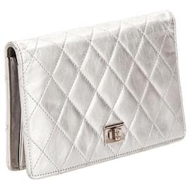 Chanel-Chanel Silver Bi-Fold Timeless Reissue Leather Long Wallet-Silvery