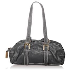 Dolce & Gabbana-Dolce&Gabbana Black Leather Shoulder Bag-Black