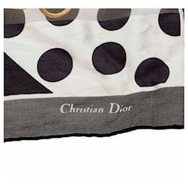 Dior-Foulard en soie imprimée noire Dior-Noir,Multicolore