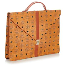 MCM-MCM Brown Visetos Leather Business Bag-Brown