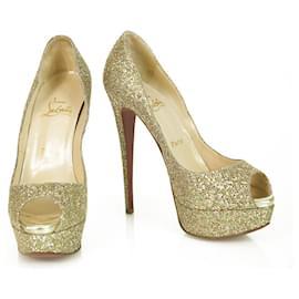 Christian Louboutin-Christian Louboutin Or Glittery Lady Peep Platform Heels Peep Toe Pumps 37-Doré