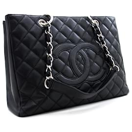 "Chanel-CHANEL Caviar GST 13"" Grand Shopping Tote Chain Shoulder Bag Black-Black"