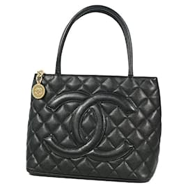 Chanel-CHANEL Medallion tote Womens tote bag A01804 black x gold hardware-Black,Gold hardware