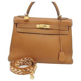 Hermès-HERMES BAG KELLY 32 TOGO GOLD GHW-Caramel,Gold hardware