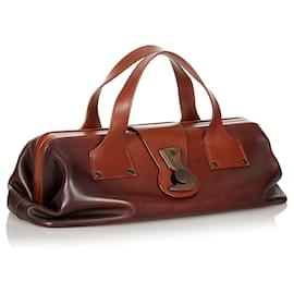 Gucci-Gucci Brown Leather Handbag-Brown