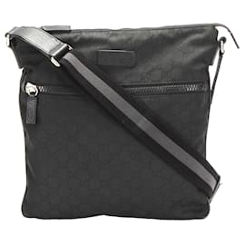 Gucci-Gucci Black GG Canvas Web Crossbody Bag-Black