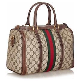 Gucci-Gucci Brown GG Supreme Web Boston Bag-Brown,Multiple colors,Beige