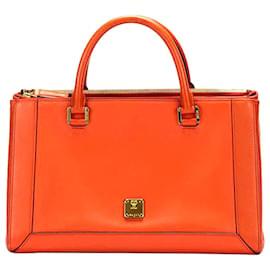 MCM-MCM Orange Nuovo Leather Satchel-Orange