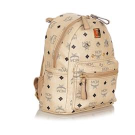 MCM-MCM Brown Visetos Stark Leather Backpack-Brown,Beige