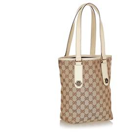 Gucci-Gucci Brown GG Canvas Charmy Tote Bag-Brown,White,Beige