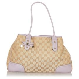 Gucci-Gucci Brown GG Canvas Princy Tote Bag-Brown,Beige,Purple