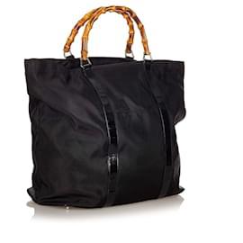 Gucci-Gucci Black Bamboo Nylon Tote Bag-Black