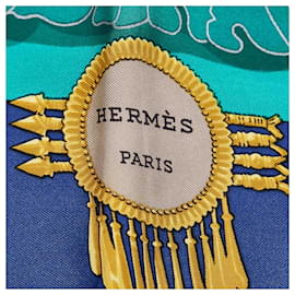 Hermès-Hermes Blue Great Buddha Silk Scarf-Blue,Multiple colors