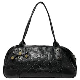 Gucci-Gucci Black Guccissima Princy Leather Shoulder Bag-Black