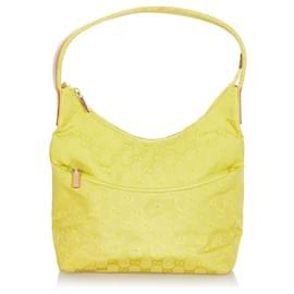 Gucci-Gucci Yellow GG Canvas Shoulder Bag-Yellow