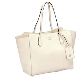 Gucci-Gucci White Swing Leather Tote Bag-White