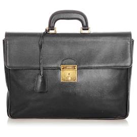 Gucci-Gucci Black Leather Briefcase-Black