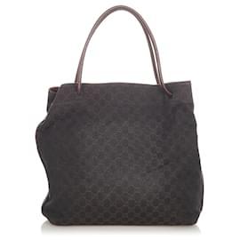 Gucci-Gucci Black GG Canvas Gifford Tote Bag-Brown,Black,Dark brown