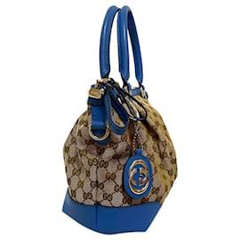 Gucci-Gucci Brown GG Canvas Sukey Satchel-Brown,Blue