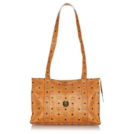 MCM-MCM Brown Visetos Leather Tote Bag-Brown