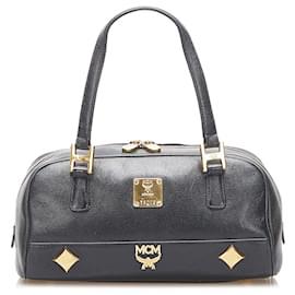 MCM-MCM Black Studded Leather Handbag-Black