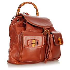 Gucci-Gucci Brown Bamboo Drawstring Leather Backpack-Brown