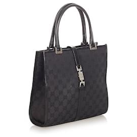Gucci-Gucci Black GG Canvas Jackie Handbag-Black