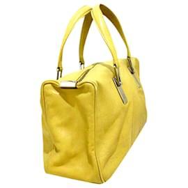Chanel-Chanel Yellow Choco Bar Lambskin Leather Handbag-Yellow