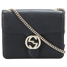 Gucci-Gucci Black Interlocking G Chain Leather Crossbody Bag-Black