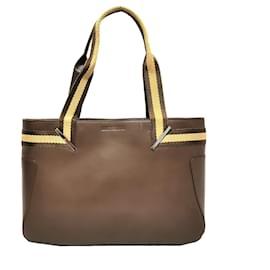 Gucci-Gucci Brown Web Leather Handbag-Brown,Yellow
