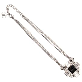 Chanel-Chanel Silver Crystal Cross Pendant Necklace-Black,Silvery