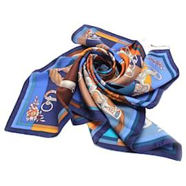Hermès-Hermes Blue Della Cavalleria Silk Scarf-Blue,Multiple colors