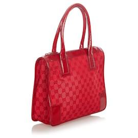 Gucci-Gucci Red GG Canvas Handbag-Red