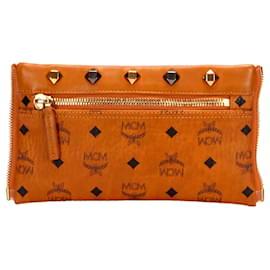 MCM-MCM Brown Visetos Leather Crossbody Bag-Brown