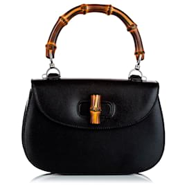 Gucci-Gucci Black Bamboo Night Leather Handbag-Black