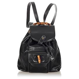 Gucci-Gucci Black Bamboo Leather Drawstring Backpack-Black