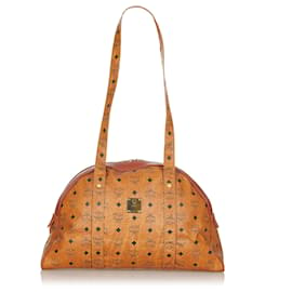MCM-MCM Brown Visetos Bowling Leather Shoulder Bag-Brown