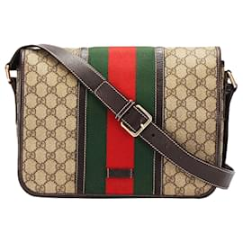 Gucci-Gucci Brown GG Supreme Web Crossbody Bag-Brown,Multiple colors,Beige