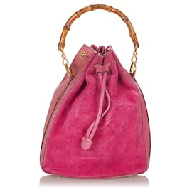 Gucci-Gucci Pink Bamboo Suede Bucket Bag-Pink
