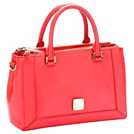 MCM-MCM Red Nuovo Leather Satchel-Red