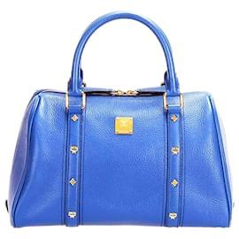 MCM-MCM Blue Leather Boston Bag-Blue
