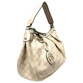 Gucci-Gucci White Guccissima Sukey Shoulder Bag-White
